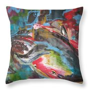 Mobie Joe The Whale-original Abstract Whale Painting Acrylic Blue Red Green Throw Pillow