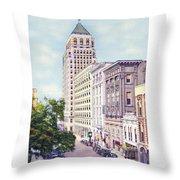 Mobile Alabama - North On St. Joseph Street - Merchants National Bank - 1937 Throw Pillow