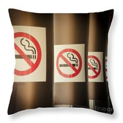 Mobile Photography Toned Row Of No Smoking Signs Throw Pillow