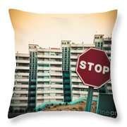 Mobile Photography Toned Stop Sign And Condo Units Throw Pillow