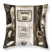 Mobilgas Special - Tokheim Pump  - Sepia Throw Pillow by Mike McGlothlen