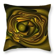 Mobius Field Generator Fractal Olive Throw Pillow