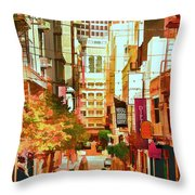 Mocca On Maiden Lane Throw Pillow by Bill Gallagher