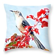 Mockingbird In The Leaves - Watercolor Throw Pillow