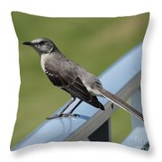 Mockingbird Perched Throw Pillow