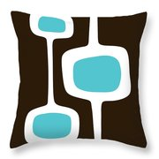 Mod Pod Three White On Brown Throw Pillow