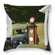 Model A Ford And Old Gas Station Illustration  Throw Pillow