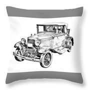 Model A Ford Roadster Antique Car Illustration Throw Pillow
