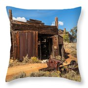 Model A Truck With Garage And House Throw Pillow