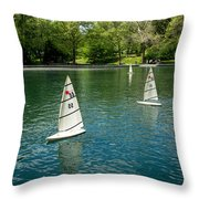 Model Boats On Conservatory Water Central Park Throw Pillow