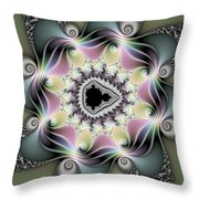 Modern Abstract Fractal Art Metallic Colors Square Format Throw Pillow