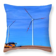 Modern Agriculture And Wind Turbines Throw Pillow