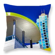 Modern Architecture With Blue Sky Throw Pillow