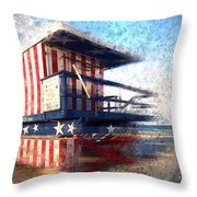 Modern-art Miami Beach Watchtower Throw Pillow by Melanie Viola