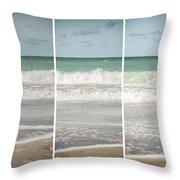 Modern Beach Tryptych Throw Pillow