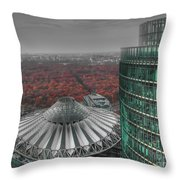 Modern Building With Autumn Forest Throw Pillow