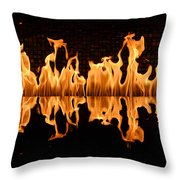 Modern Fireplace Fire Reflected In Water Feature No.5 Throw Pillow