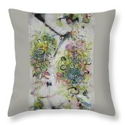 Modern Spring Blossom Art Painting Flower Butterfly Art Acrylic Ink Rice Paper Green Yellow Pink Sjk Throw Pillow