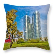 Modern Twin Tower In City Of Zagreb Throw Pillow