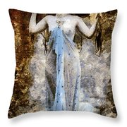 Modern Vintage Lady In Blue Throw Pillow