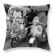 Mods Scooters Throw Pillow