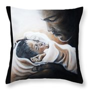 Mohammad Ali And Baby Laila Throw Pillow