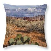 Mojave Desert Cactus Throw Pillow