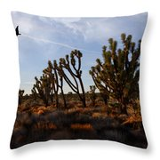 Mojave Desert Joshua Tree With Ravens Throw Pillow