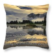 Molas Lake Sunrise With Scripture Throw Pillow