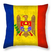 Moldova Flag Vintage Distressed Finish Throw Pillow