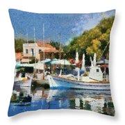 Molyvos Port Throw Pillow