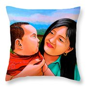 Mom And Babe Throw Pillow
