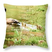 Mom And Babies Swimming Throw Pillow