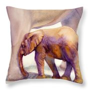 Mom And Baby Boy Elephants Throw Pillow