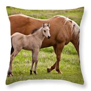 Mom And Foal 2 Throw Pillow