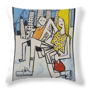 Mom And Son In Montreal Throw Pillow