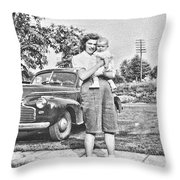 Mom Child And Car Throw Pillow