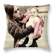 Mom Loves Baby Pink Throw Pillow