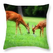 Mom Sharing A Snack With Her Baby Fawn Throw Pillow