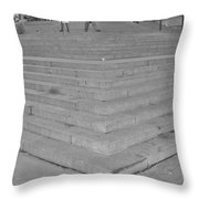 Moma Stairs In Black And White Throw Pillow