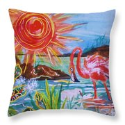 Momma And Baby Flamingo Chillin In A Blue Lagoon  Throw Pillow