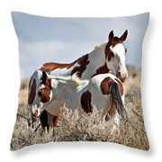 Momma And Baby In The Wild Throw Pillow
