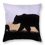 Momma Bear And Cub Throw Pillow