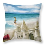 Mommy And Me Sandcastles Throw Pillow