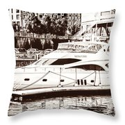 Momousse Yacht In Montreal Throw Pillow