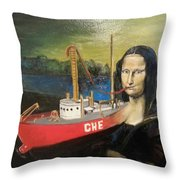 Mona Lisa Unfinished Throw Pillow
