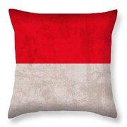 Monaco Flag Vintage Distressed Finish Throw Pillow