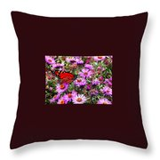 Monarch Among The Asters Throw Pillow