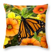 Monarch Among The Flowers Throw Pillow