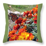 Monarch Among The Marigolds Throw Pillow